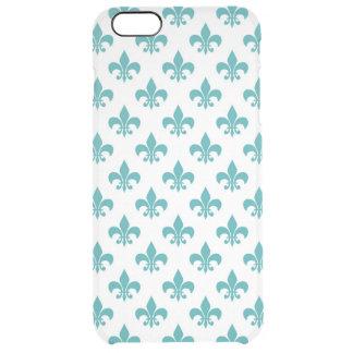 Vintage teal fleur de lis pattern clear iPhone 6 plus case