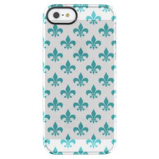 Vintage teal fleur de lis pattern clear iPhone SE/5/5s case