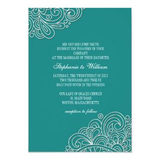 """Vintage Teal Floral Swirl Wedding Invitation 5"""" X 7"""" Invitation Card"""