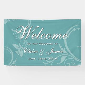 Vintage Teal Floral Welcome Wedding Banner