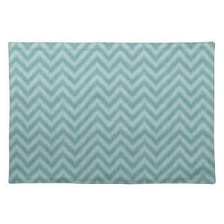 Vintage Teal Green Ikat Chevron Zigzag Cloth Placemat