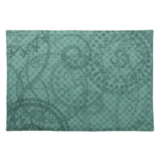 Vintage Teal Green Swirls and Polka Dots Placemat