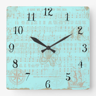 Vintage Teal Nautical Musical Sheet Clocks
