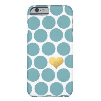 Vintage Teal Polka Dot Gold Foil Heart iPhone Barely There iPhone 6 Case