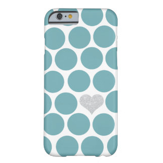 Vintage Teal Polka Dots Silver Glitter Heart Barely There iPhone 6 Case