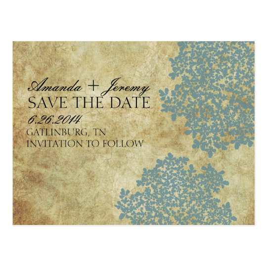 Vintage Teal Queen Anne's Lace Save the Date Postcard