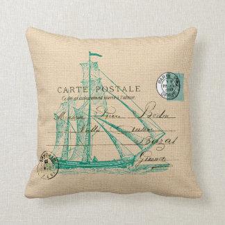 Vintage Teal Sailing Ship Nautical Pillow