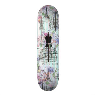 Vintage teal stripes paris collage pink floral skateboard deck