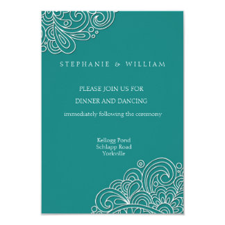 Vintage Teal Swirl Damask Wedding Reception Card 9 Cm X 13 Cm Invitation Card