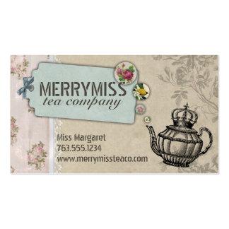 Vintage teapot flower bubbles shabby chic tea pack of standard business cards