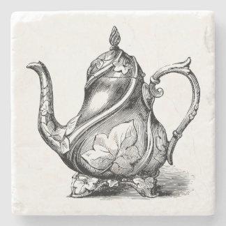 Vintage Teapot Illustration Stone Beverage Coaster