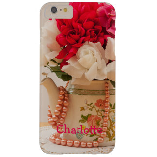 Vintage Teapot Vase of Flowers Personalized Barely There iPhone 6 Plus Case
