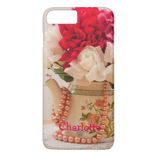 Vintage Teapot Vase of Flowers Personalized iPhone 7 Plus Case