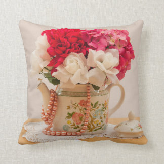 Vintage Teapot Vase of Flowers Throw Cushions
