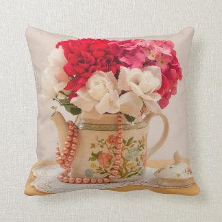 Vintage Teapot Vase of Flowers Throw Pillow