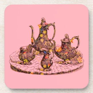 Vintage teapots on pink cork coaster set of 6