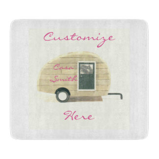Vintage teardrop trailer gypsy caravan cutting board
