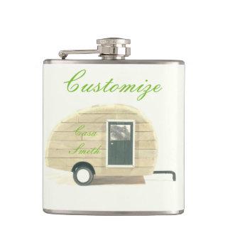 Vintage teardrop trailer gypsy caravan hip flask