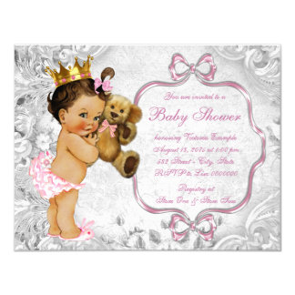 Vintage Teddy Bear Ethnic Baby Girl Shower 11 Cm X 14 Cm Invitation Card