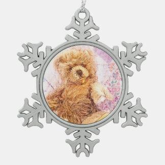 Vintage Teddy Bear Pewter Snowflake Decoration