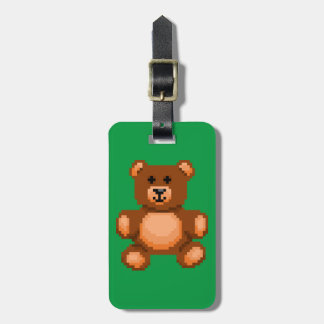 Vintage Teddy Bear - Pixel Art Luggage Tag