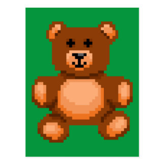 Vintage Teddy Bear - Pixel Art Postcard