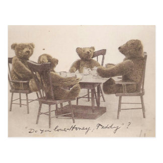 Vintage Teddy Bears, Do you Love Honey? Postcard