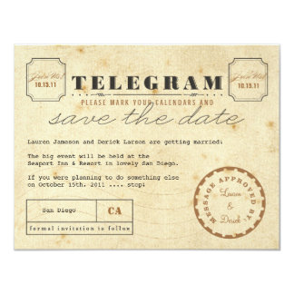 Vintage Telegram Save the Date Card