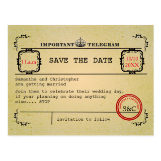 Vintage telegram wedding save the date postcard
