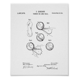 Vintage Tennis Ball Patent Poster, Original Ball Poster