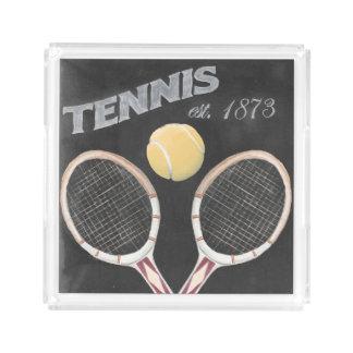 Vintage Tennis Chalkboard Design Acrylic Tray