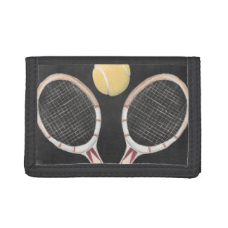 Vintage Tennis Chalkboard Design Tri-fold Wallets