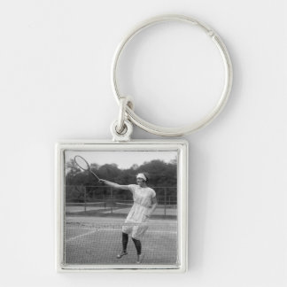 Vintage Tennis Outfit, 1920s Silver-Colored Square Key Ring