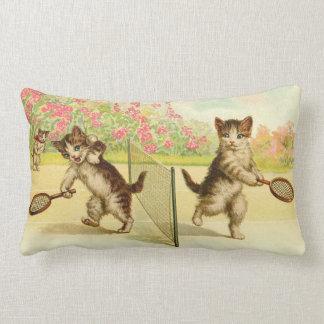 Vintage - Tennis Playing Cats Lumbar Cushion