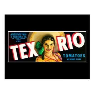 Vintage Tex Rio Tomatoes Label Postcard