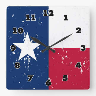 Vintage Texas flag square wall clock for Texans