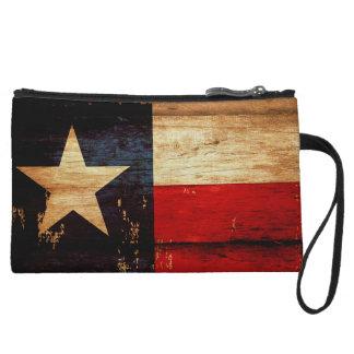 Vintage Texas State Flag in Rustic Wooden Grunge Wristlet