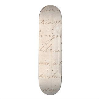 Vintage Text Colonial Script Parchment Paper 20.6 Cm Skateboard Deck