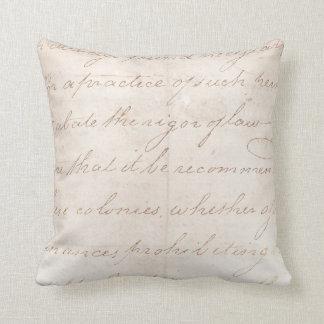 Vintage Text Colonial Script Parchment Paper Cushion