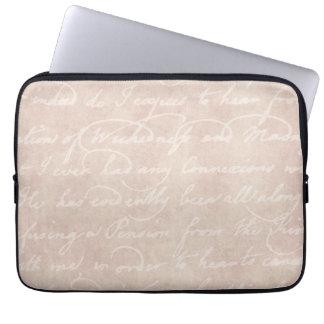 Vintage Text Colonial Script Parchment Paper Laptop Sleeve