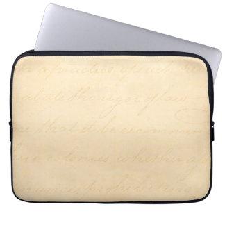 Vintage Text Colonial Script Parchment Paper Laptop Computer Sleeves