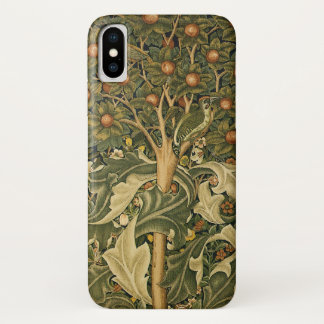 Vintage Textile Art, Woodpecker by William Morris iPhone X Case