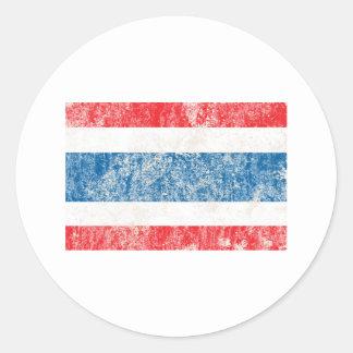 Vintage Thailand Flag Classic Round Sticker