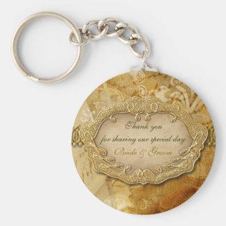 "Vintage ""thank you"" gold brown wedding basic round button key ring"