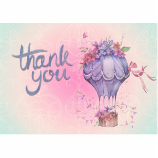 Vintage Thank You Hot Air Balloon Photo Sculpture Magnet