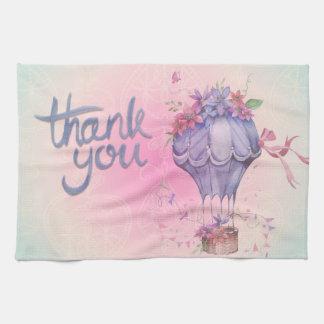 Vintage Thank You Hot Air Balloon Tea Towel