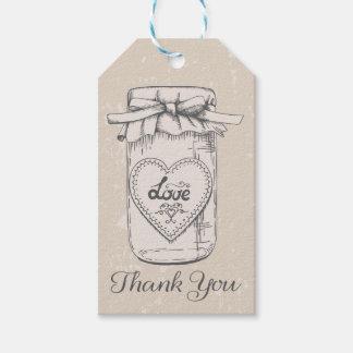 Vintage Thank You Mason Jar Hearts Tan Brown Gift Tags