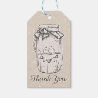 Vintage Thank You Mason Jar Lovebirds Tan Brown Gift Tags