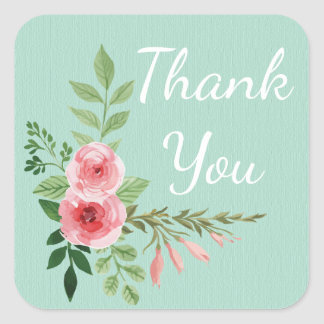 Vintage Thank You Pink Floral Watercolor Mint Square Sticker