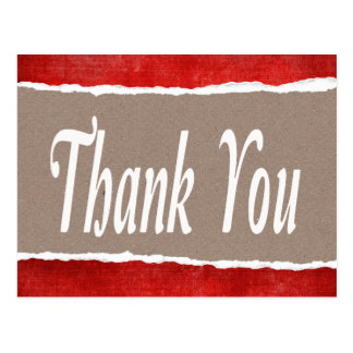 Vintage Thank You  Red & Gray Rustic Post Card